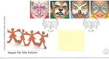 WBC. - GB-Primo giorno di Copertura-FDC-commems -2001 - faccia dipinti-PMK speranza.