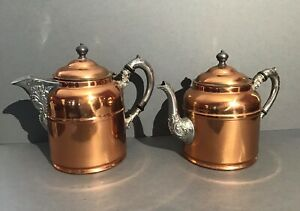 Antique Pair of Rochester Stamping Works Copper Teapot/Coffee Pot/Ketttles