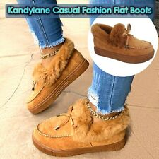 Kandylane Casual Fashion Flat Boots Comfortable Thick Plush Keep Warm Sneakers