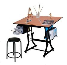 Hobby Drawing Drafting Table Desk Sketching Stool Wood Top Drawer Adjustable