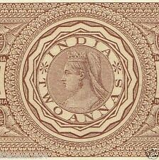 British India 2 Annas QUEEN VICTORIA stamp Bond paper for note coin collector
