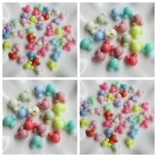 Mixed Pastel Color Mickey Mouse Acrylic Pony Style Beads Crafts Kids 10 or 15mm