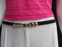WOMEN HIGH WAIST HIP WHITE SKINNY FASHION BELT GOLD BUCKLE NARROW BAND XS S M L