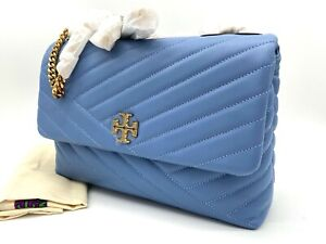NWT $528 Tory Burch Kira Chevron Quilted Leather Convertible Shoulder Bluewood