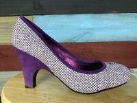 LINDSAY PHILLIPS Purple TWEED Casual Slip On Pump INTERCHANGABLE SNAPS Women 8m