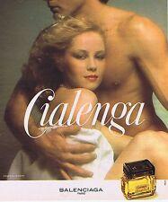 """PUBLICITE ADVERTISING 114 1977 BALENCIAGA  """"Cialenga"""" eau de toilette"""