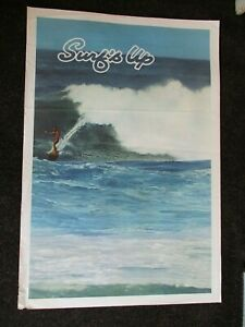 "RARE Vintage Original 1960s SURFS UP Surfing Travel Poster Hawaii 25"" x 37"""