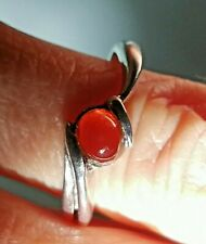 MEXICAN Fire Opal ring size 5, silver 925 Mexico handcrafted cabochon + jewelry