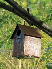 "6"" Rustic Wrought Iron Metal Hanging Birdhouse Garden Decor Handmade in Usa"