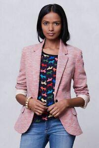 Anthropologie Cartonnier Tonal Knit Blazer Pink Small