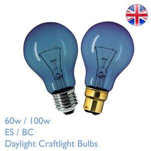 60w 100w E27 B22 Daylight Craftlight GLS Blue Filter Bulb SAD Therapy Crafts