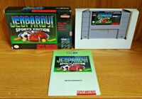 Jeopardy! Sports Edition  SNES Super Nintendo Complete Game Manual & Box Working