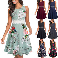 Women's Sleeveless Cocktail A-Line Embroidery Party Summer Wedding Guest Dress