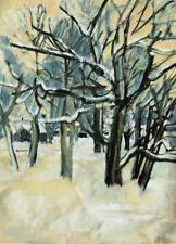 Walter Gutbrod 1908-1998 Ludwigsburg/huile/hivernales forêt avec maisons 1986