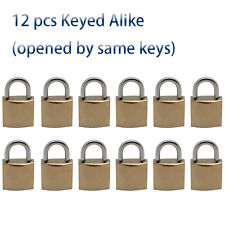 12 small iron locks in Golden plated, KEYED ALIKE Same keys open by same key