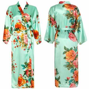 Long Floral Robe Bride Kimono Bridesmaid Robes Satin Robe Bathrobe Sleepwear