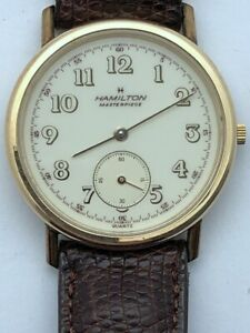 1994 HAMILTON Masterpiece 10K Gold Filled 25 Years in Shell  MINT JUST SERVICED
