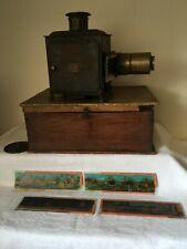Antique ERNST PLANK MAGIC LANTERN PROJECTOR Box & 5 Slides NO LIGHT  A/F
