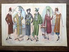 Gravure GRANDES MODES DE PARIS Art Déco 1925 Créations Martial & Armand, Cyber..