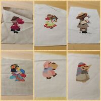 Lot of Completed Cross Stitch Squares - Dolls Around the World Theme