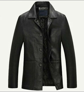 Mens warm Faux leather jacket jacket coat trench outwear overcoat Coats Chic