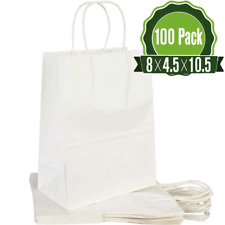 100 pcs paper bags white kraft bag with handles gift Retail Merchandise shopping