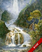 THE TERNI WATERFALL ITALIAN WATERFALLS ITALY PAINTING ART REAL CANVAS PRINT