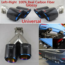 Pair Universal Real Carbon Fiber Dual Exhaust Pipe Car Tail Muffler Tip 63-89mm