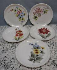 5 Vintage Westmoreland Milk Glass Hand Painted Beaded Floral Flower Plates
