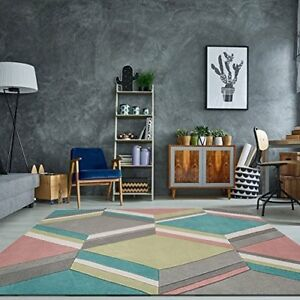 Harlequin Modern Multi Coloured Pastel Soft Hand Carved Geometric Living Room...