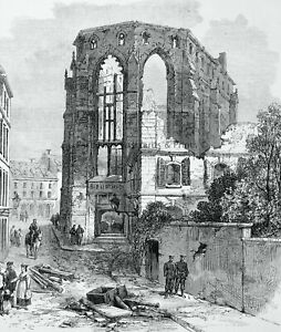 1871 Print LATE WAR IN FRANCE / STRASBOURG RUINS LIBRARY Franco Prussian War