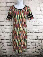 Lularoe LLR Julia Multicolored Paintbrush Strokes With Varsity Stripes XXS
