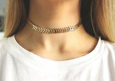 Women Gold Tone Leaves Simple Necklace Collars Chain Choker Pendant Jewelry Boho