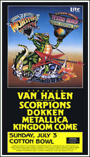 Van Halen Metallica Scorpions 1988 Texxas World Music Festival Concert Poster