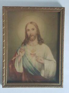 Antique/Vintage NB Framed Sacred Heart Jesus Print