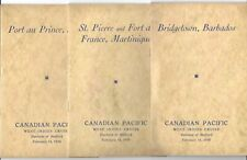 3 Canadian Pacific West Indies Cruise Booklets, Barbados, Haiti, Martinique 1930