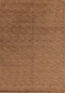 Contemporary Solid Caramel Brown Gabbeh Oriental Area Rug Modern Living Room 6x9