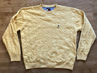 Vintage Tommy Hilfiger Yellow Cable Knit Oversized Jumper Sweater XL Crew Neck