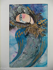 Cuban Cuba Artist Charo ORIG Hand SIGNED Painting BLUE LADY LOOKING DN HAVANA 88