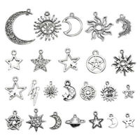 23 pcs Mix Style Star Moon Sun Planet Charm Tibet Silver Pendant Bracelet Beads
