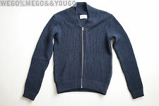 Our Legacy Mercerized Blue Full Zip Sweater Jacket Cotton size 46 S