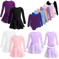 Girls Kids Gymnastics Ballet Dance Dress Long Sleeves Leotards Tutu Skirt Outfit