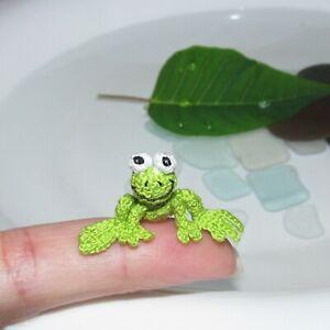 Dollhouse Miniature Frog Crochet Animals Handmade Stuffed Toys Green Frog Gifts
