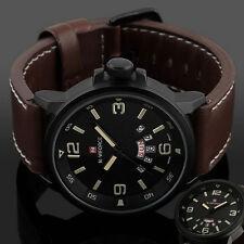 De Luxe Pour Hommes Date Army Sport Cuir Montre Bracelet Étanche Analogique