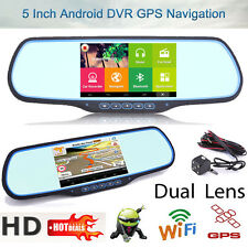 "Car DVR GPS Navi Rearview Mirror Dash Camera Android WiFi Dual Lens 5"" HD 1080P"
