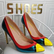 Fashion Women's High Heels Pointed Toe Pumps Stilettos Colorblock Sandals Shoes