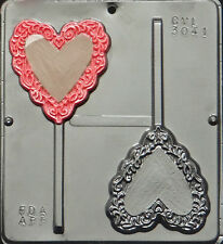 Heart with Lace Trim Lollipop Chocolate Candy Mold Valentine  3041 NEW