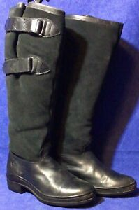 Black Leather Suede ARIAT Tall Riding Boots Sz 9 B Waterproof Winter Insulated