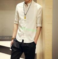 Men's Summer Chinese Style Shirt Short Sleeve Casual Shirt Cotton Linen Shirts s