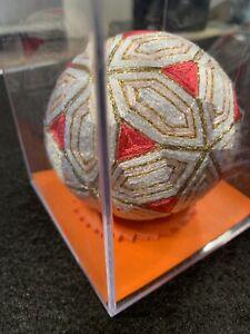 Japanese Handmade Temari Ball Red Gold White Hexagon Triangle